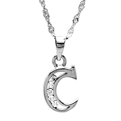 Aurora Tears 925 Sterling Silver Letter Initial Alphabet White Gold Plated Pendant Necklace 18 4p5Ljvy