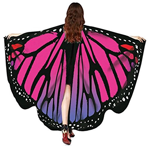 Women Butterfly Wings Shawl Scarves Pixie Party Cosplay Costume Accessory (Rose Red)