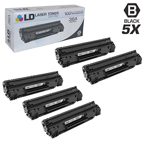 LD © Compatible Replacement Laser Toner Cartridges for Hewlett Packard CB436A (HP 36A) Black (5 Pack) for use in the following printers: LaserJet M1522n MFP, M1522nf MFP, P1505 & P1505n Printers