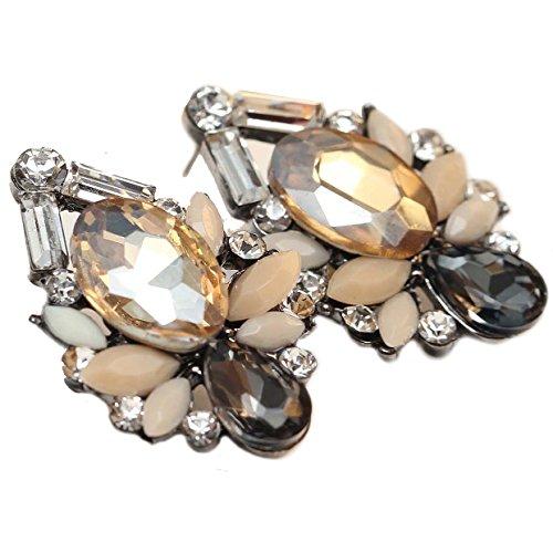 Art Deco Antique Vintage Retro Style Peach Amber Citrine Topaz Tan Grey Earth Tones Rhinestone Bridal Bridesmaid Wedding Prom Cluster Earrings