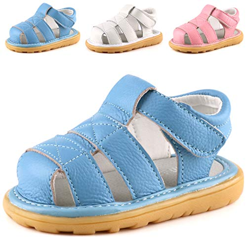 Femizee Baby Leather Sandals Closed Toe Outdoor Casual Sandals for Toddler Boys Girls,Blue,1231 CN17 best to buy
