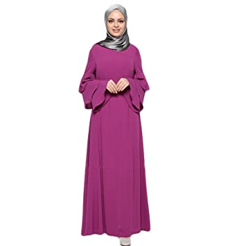 99f53293d503 Women Muslim Classic Pure Color Elegant Long Robe Summer Plus Size Trumpet  Sleeve High Waist Pleated