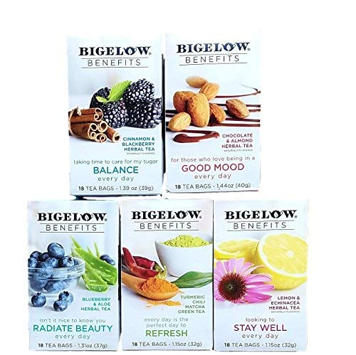 (Balance, Good Mood, Radiate Beauty, Refresh, Stay Well - Variety Pack of Bigelow Benefits Tea Bags - Bundle of 5 Boxes)