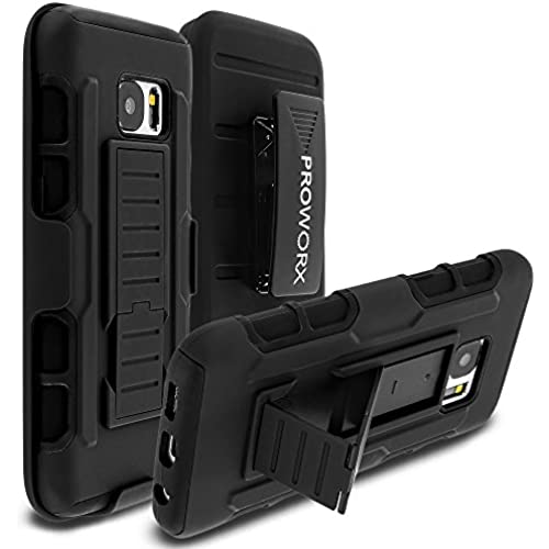 Galaxy S7 Case, PROWORX [Heavy Duty] Matte Black Robot Armor Holster Defender Full Body Protective Hybrid Rugged Case Cover with Swivel Rotating Belt Sales