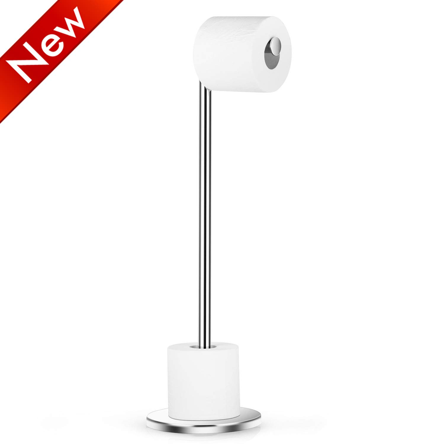 Naturous Stainless Steel Toilet Paper Holder, Free Standing Lavatory Pedestal Toilet Paper Stand with Reserve by Naturous