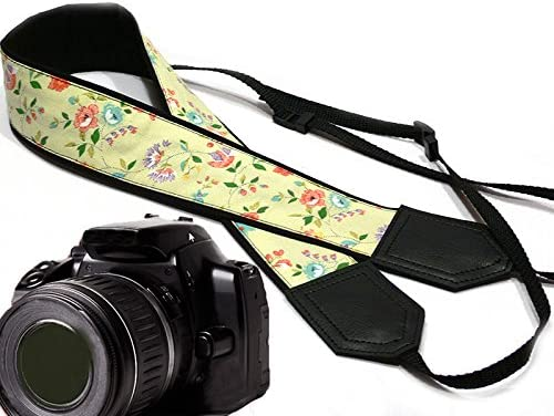 Camera Accessories Code 00057 Vintage Botanical Camera Strap Durable Black and Yellow DSLR Camera Strap InTePro Flowers Camera Strap Light Weight and Well Padded Camera Strap