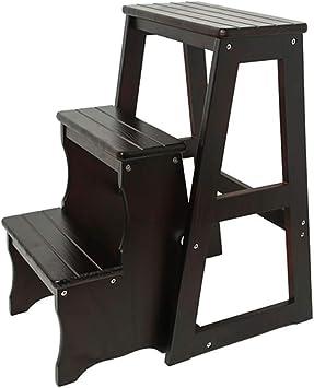 AINIYF Escalera de madera maciza Taburete Banqueta de entrada Banco de silla Taburete Escalera plegable de 3 peldaños Reposapiés multiusos: Amazon.es: Bricolaje y herramientas