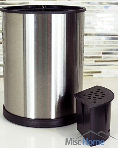 Stainless Steel Kitchen Utensil Holder – Rotating Cooking Utensil Holder Made From Fingerprint Resistant Brushed Stainless Steel