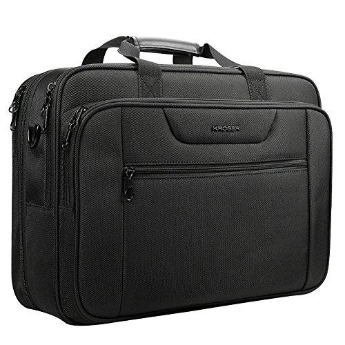 "KROSER 18.5"" Laptop Bag Laptop Briefcase Fits Up To 18 Inch Laptop Water-Repellent Computer Bag Shoulder Bag Expandable Extra Large Capacity For Travel/Business/School/Men-Black"