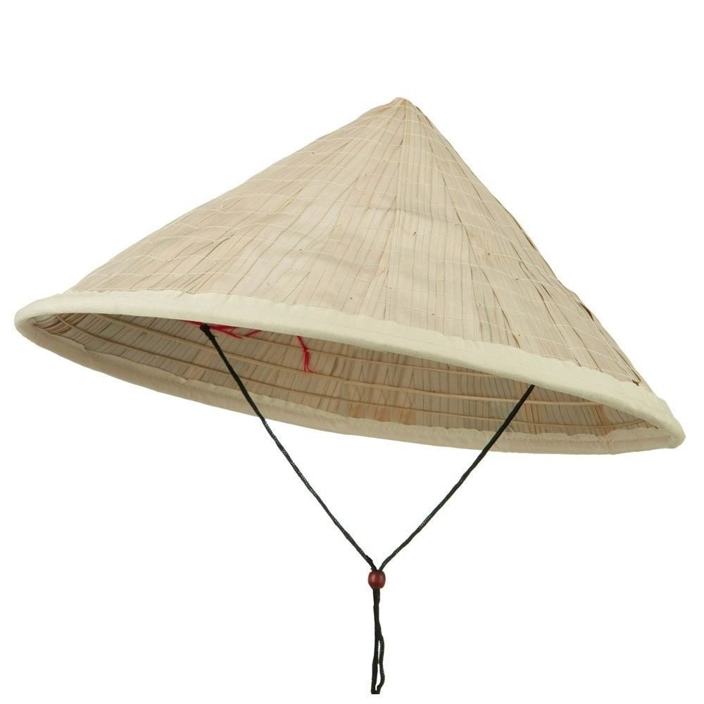 Jacobson Hat Company Large Bamboo Coolie Hat with Chin Cord - Natural OSFM