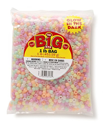 Darice 0726-37 Glow in The Dark Pony Beads, 1-Pound Bag, Assorted Glow
