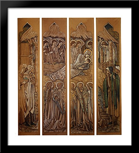 The Nativity, Cartoons for Stained Glass at St. David's Church, Hawarden 28x32 Large Black Wood Framed Print Art by Edward Burne Jones