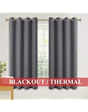 PONY DANCE Eyelet Blackout Curtains - Super Soft Grey Bedroom Thermal Curtains 46 x 54 inch Drop Noise Reduce Panels for Nursery/Bay Window for Home Decoration, 2 PCs, Grey