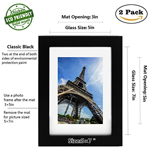 Picture Frame 2pack 5x7 inch Black,Anti-Corrosion Wood Photo Frame 4-side Painted with Modelling Effect Mat,Table Top & Wall Mounting Available - Hanging Hardware Included