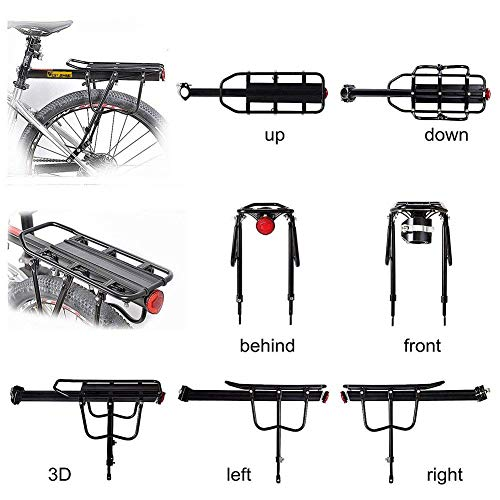 West Biking 110Lb Capacity Almost Universal Adjustable Bike Cargo Rack Cycling Equipment Stand Footstock Bicycle Luggage Carrier Racks with Reflective Logo by West Biking (Image #2)