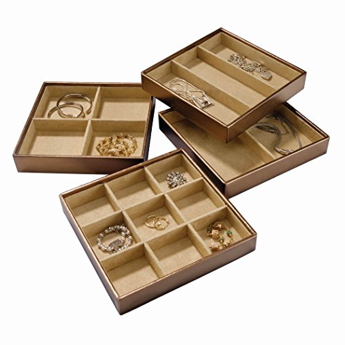 Stock Your Home Stackable Jewelry Organizer Trays Set of 4 For Use As Jewelry Storage Trays & Jewelry Organizer For Drawer