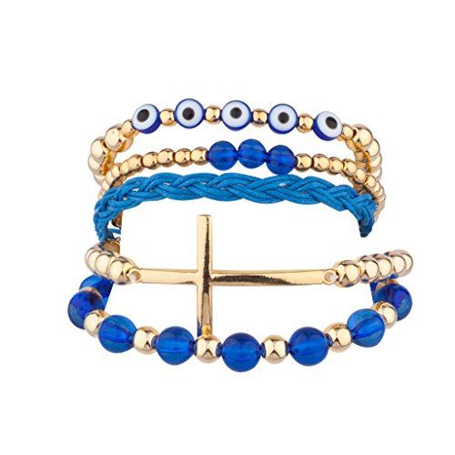 Lux Accessories Evil Eye Cross Beaded Woven Stretch Arm Candy Bracelet Set