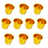 Lot of 10 Aluminum Jumbo Poker Table Cup Holder in Gold by YH Poker