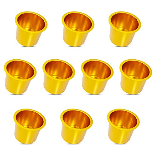Lot of 10 Aluminum Jumbo Poker Table Cup Holder in Gold by YH Poker by YH Poker