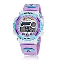 Kids Outdoor Sports Watch Children Waterproof Digital Alarm Dress Wristwatch for Girls(Purple)