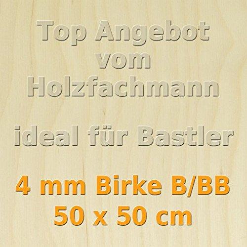 4mm Birke Sperrholzplatte Qualit/ät B//BB 50 x 50cm GP 39,16 /€//m/²