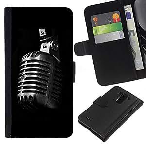 Ihec-Tech / Flip PU Cuero Cover Case para LG Optimus G3 - Microphone Retro Microphone