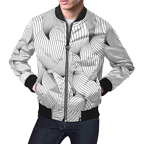 INTERESTPRINT Men's Traditional Russian Hohloma Style Zip Up Baseball Jacket Long Sleeves Short Blazer Outfit -