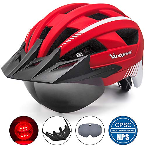 VICTGOAL Bike Helmet for Men Women with Led Light Detachable Magnetic Goggles Removable Sun Visor Mountain & Road Bicycle Helmets Adjustable Size Adult Cycling Helmets (Red)