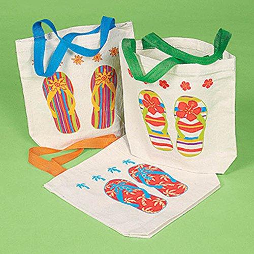 24 Flip Flop Bags Party Favor Canvas Tote Lot Luau Pool Summer Beach Sandals