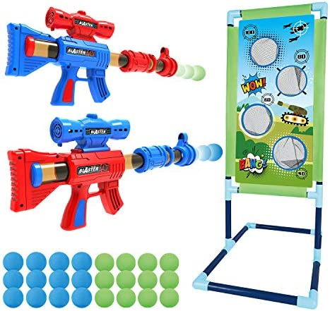 Shooting Game Toy for 5 6 7 8 9 10+ Years Olds Boys and Girls,2pk Foam Ball Popper Air Toy Guns withStanding Shooting Target,24 Foam Balls, Indoor Activity Game for Kids, Compatible with Nerf Toys