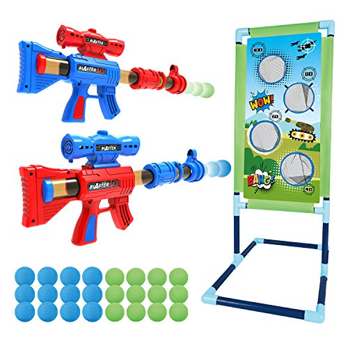 Shooting Game Toy for 5 6 7 8 9 10+ Years Olds Boys and Girls,2pk Foam Ball Popper Air Toy Guns with Standing Shooting Target, 24 Foam Balls, Indoor Activity Game for Kids, Compatible with Nerf Toys