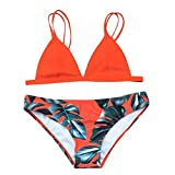 Chanyuhui Women Bikini Set Swimwear Leaves Printed Push-up Padded Bra Swimsuit Beach Bathing Suit (S, Orange)