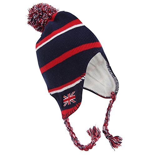 Ladies/Womens England Union Jack Red Navy Winter Hat, Thermal Peruvian Hat with Tassels (One size fits all) (Navy)