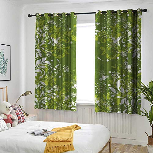 MaryMunger Green Curtains for Bedroom Abstract Floral Ornaments Nature Inspired Artistic Branches Leaves Darkening Thermal Insulated Blackout W 72