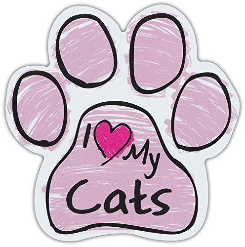 (Pink Scribble Paws: I LOVE MY CATS | Cat Paw Shaped Car Magnets)