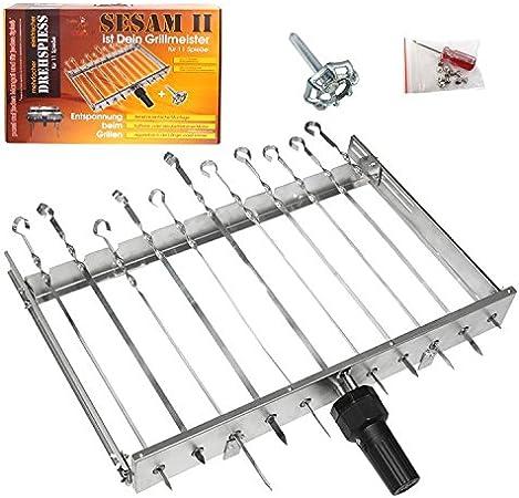 OLYMP Sesam II - Brochetas para barbacoa (para 11 brochetas, motor que funciona con pilas, brocheta para barbacoa, pincho giratorio)