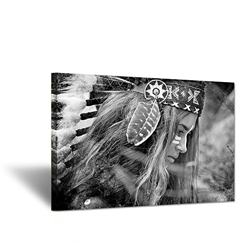 (Hello Artwork - Native American Indians Girl Feathered Canvas Wall Art Painting Home Decorations Stretched and Framed Ready to Hang 24x36inch)