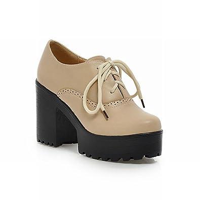 d0e984651dc Carolbar Women's Vintage Platform Heeled Oxfords
