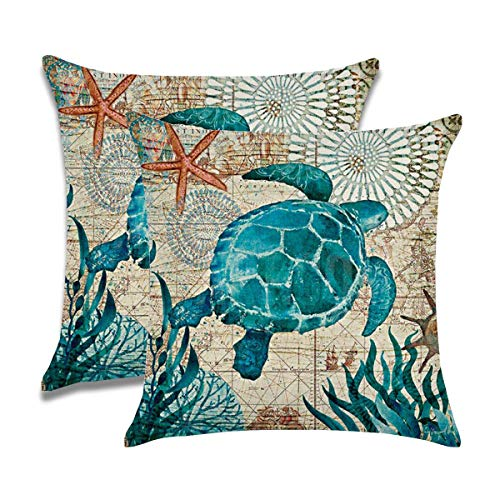 """7ColorRoom 2pack Sea Turtle Pillow Cases Ocean Theme Home Decorative Throw Pillow Covers 18""""×18""""Cushion Covers for Patio Sofa Couch (Sea -"""