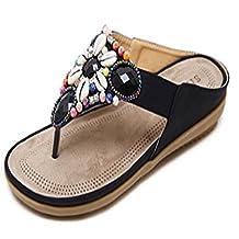 Ladies Women Beaded Bohemia Flip Flops Gemstones Antiskid Beach Flat Sandals Posh Thong