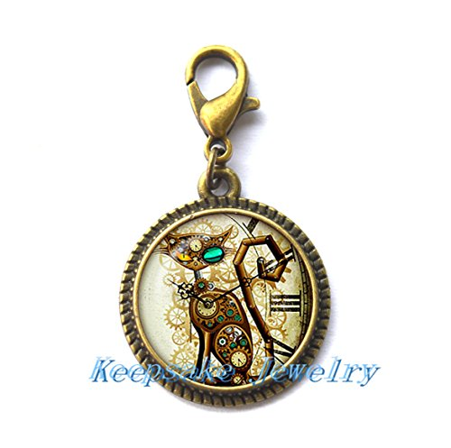 (Steampunk Cat Zipper Pull. Steampunk Cat Zipper Pull. Steampunk Retro jewelry. Birthday gift, Gifts for Him, Gifts for Her)