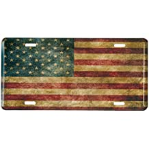 Distressed American Flag Metal Front License Plate, Vintage USA Auto Tag for Car, Truck, RV, Trailer, 6 x 12 inches