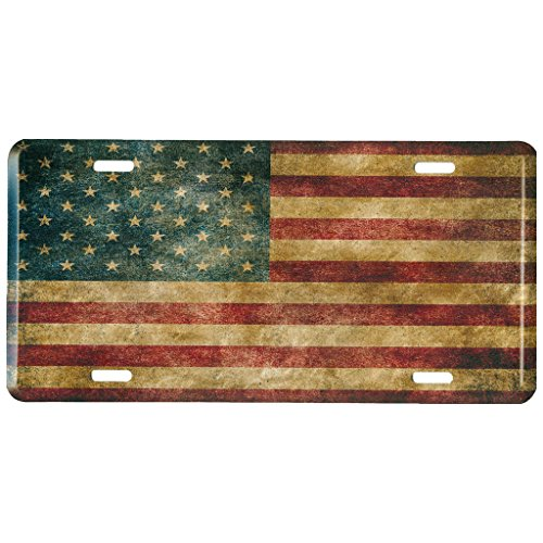 Distressed American Flag Metal Front License Plate, Vintage USA Auto Tag for Car, Truck, RV, Trailer, 6 x 12 inches Embossed Car Metal License Plate