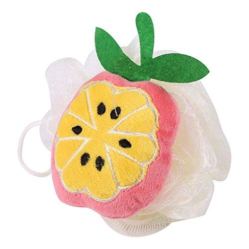2pcs Baño Ducha Esponja Bola Forma de Fruta Toalla de Frotamiento Encantador Modelado Baño de Ducha Flores/Cepillo (#Peach)