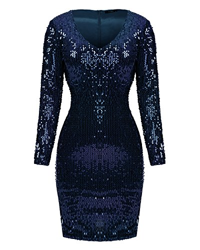 Mixfeer Women's V Neck Long Sleeve Sequin Bodycon Cocktail Party Club Evening Mini Dress (Sequins Dresses)
