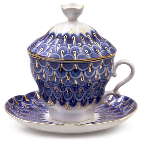 (Imperial / Lomonosov Porcelain 'Flake' Teacup w/ Saucer and Lid)