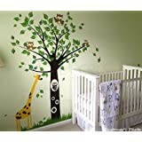 PopDecors - Baby Nursery Giraffe Decal Tree Wall Murlal Kids Wall Stickers Children Decals-Big Tree with Giraffe (79 inch tall)