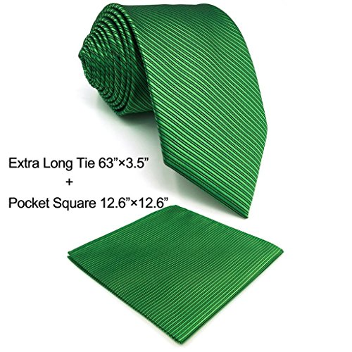 SHLAX&WING Solid Color Green Necktie for Men Business Wedding New Tie Set Long by S&W SHLAX&WING (Image #1)'