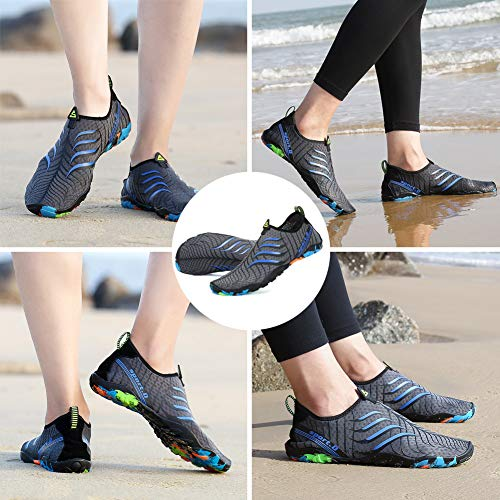 Socks Beach Dry Shoes Gray1 Swim Womens Shoes Yoga Water Pool Aqua On ASLISA Surf Slip Mens Quick wYIq77