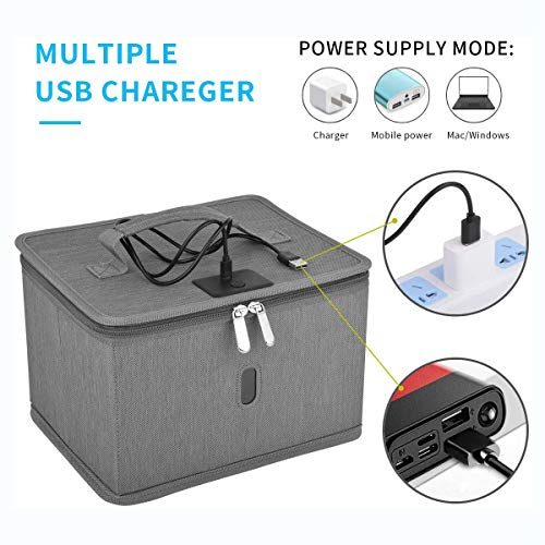 UV Light Sterilizer UVC Sanitizer Box Ultraviolet Sterilization Lamp Cleaner Bag Portable Disinfection Cabinet Germicidal Antibacterial 99.9%, USB Charging for Phone Switch Beauty Brush